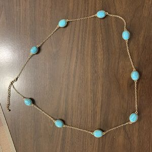 Blue/turquoise oval and gold necklace